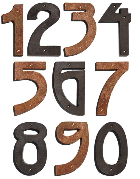 Bronze and Copper House Numbers